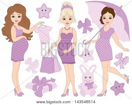 Vector Pregnant women set with baby's clothes and toys in purple color