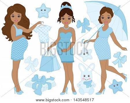 Vector African American pregnant women set with baby's clothes and toys in blue color