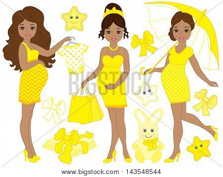 Vector African American pregnant women set with baby's clothes and toys in yellow dresses