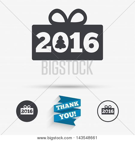 Happy new year 2016 sign icon. Christmas gift anf tree. Flat icons. Buttons with icons. Thank you ribbon. Vector