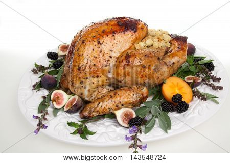Garnished Turkey On Serving Tray