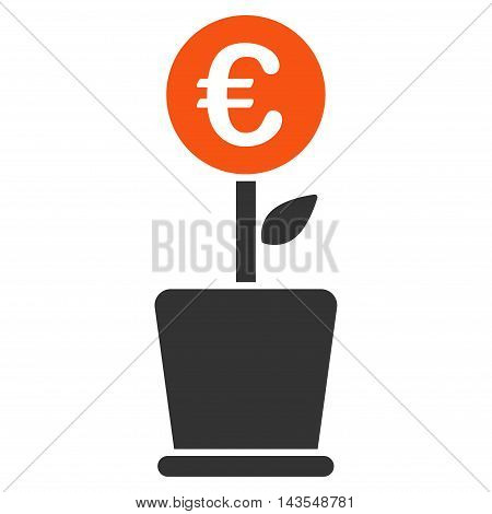 Euro Project Pot icon. Vector style is bicolor flat iconic symbol with rounded angles, orange and gray colors, white background.