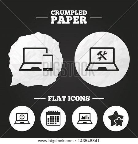 Crumpled paper speech bubble. Notebook laptop pc icons. Internet globe sign. Repair fix service symbol. Monitoring graph chart. Paper button. Vector