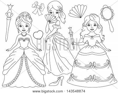 Vector black and white beautiful princesses set with magic wand