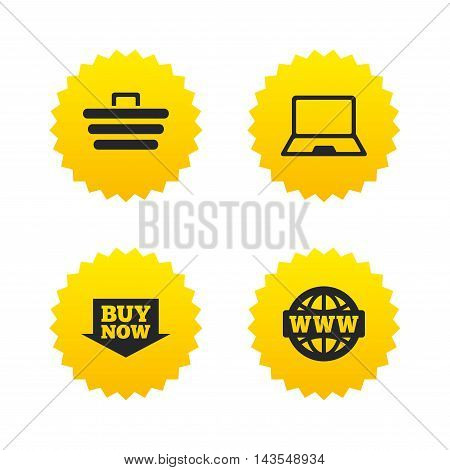 Online shopping icons. Notebook pc, shopping cart, buy now arrow and internet signs. WWW globe symbol. Yellow stars labels with flat icons. Vector
