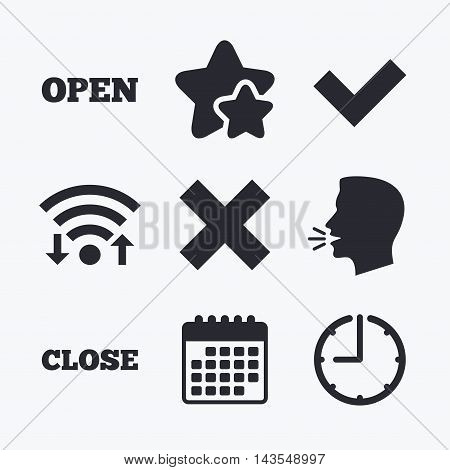 Open and Close icons. Check or Tick. Delete remove signs. Yes correct and cancel symbol. Wifi internet, favorite stars, calendar and clock. Talking head. Vector