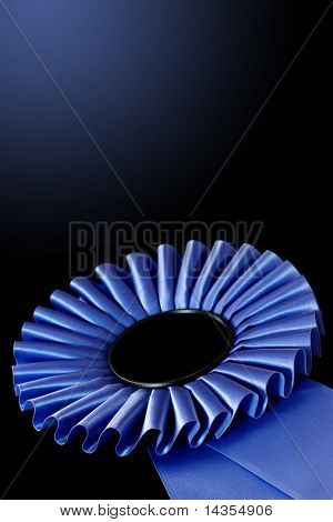 Blue rosette, over black background.  Shallow DOF, lots of copy space.