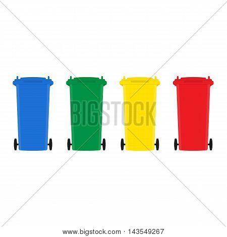 Set of trash bins flat design on white background vector illustration
