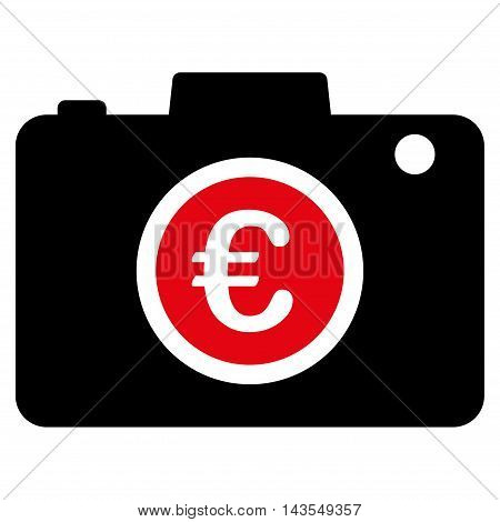 Euro Photo icon. Vector style is bicolor flat iconic symbol with rounded angles, intensive red and black colors, white background.