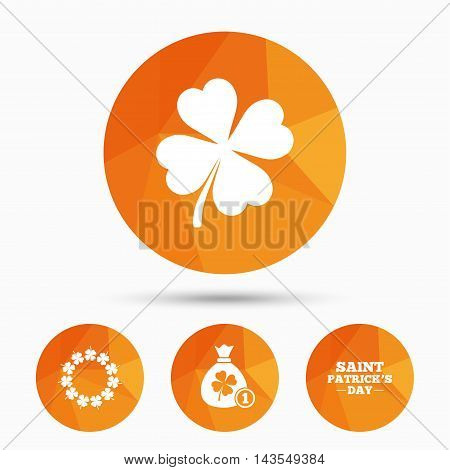 Saint Patrick day icons. Money bag with coin and clover sign. Wreath of quatrefoil clovers. Symbol of good luck. Triangular low poly buttons with shadow. Vector