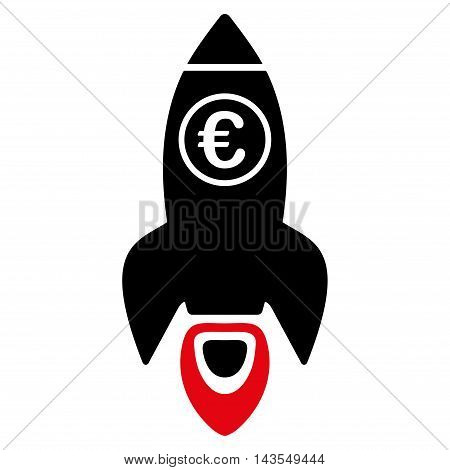 Euro Rocket Launch icon. Vector style is bicolor flat iconic symbol with rounded angles, intensive red and black colors, white background.