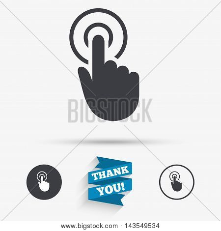 Hand cursor sign icon. Hand pointer symbol. Flat icons. Buttons with icons. Thank you ribbon. Vector