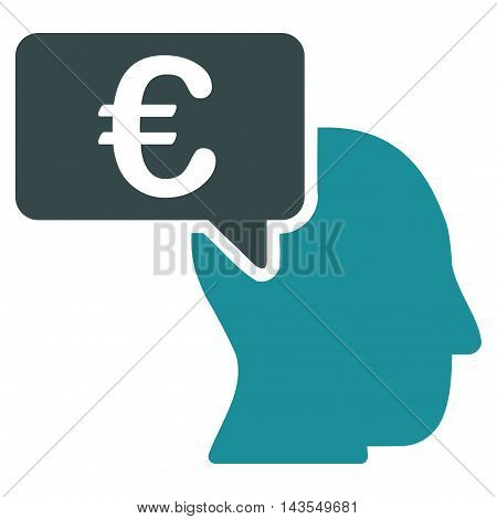 Euro Businessman Idea icon. Vector style is bicolor flat iconic symbol with rounded angles, soft blue colors, white background.