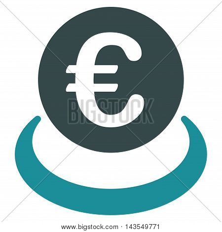 Euro Deposit icon. Vector style is bicolor flat iconic symbol with rounded angles, soft blue colors, white background.