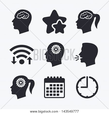 Head with brain icon. Male and female human think symbols. Cogwheel gears signs. Woman with pigtail. Wifi internet, favorite stars, calendar and clock. Talking head. Vector
