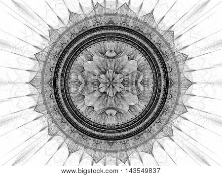 Abstract mandala flower - computer-generated image. Fractal art: complex mystical pattern - circles and curves with rays. Sacred geometry for web design, covers, banners.