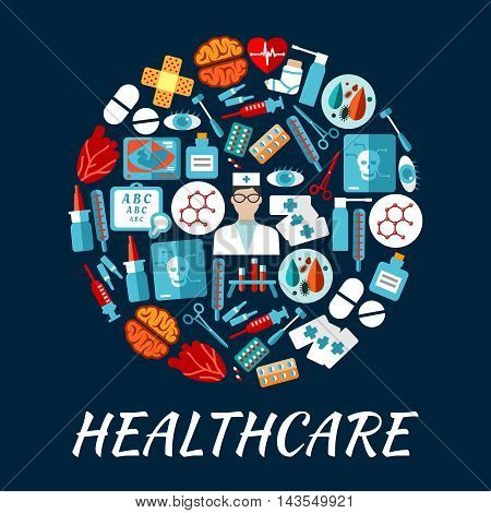 Round icon with flat doctor, pill, thermometer, syringe, heart, brain, blood test tube, eye, medical tool, skull x-ray, bandage, medicine bottle, baby ultrasound sight test symbols Healthcare design