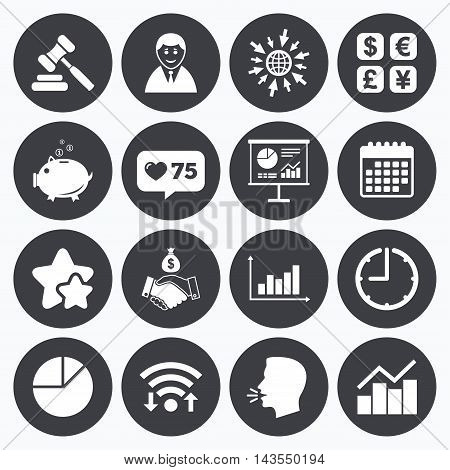 Calendar, wifi and clock symbols. Like counter, stars symbols. Money, cash and finance icons. Handshake, piggy bank and currency exchange signs. Chart, auction and businessman symbols. Talking head, go to web symbols. Vector