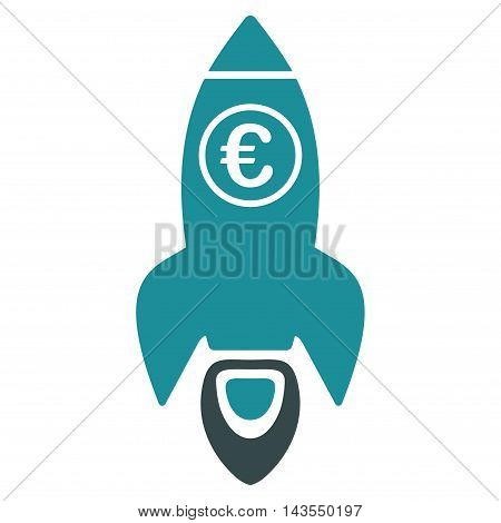 Euro Rocket Launch icon. Vector style is bicolor flat iconic symbol with rounded angles, soft blue colors, white background.