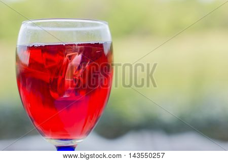 red wine outdoors in a summer sunny day
