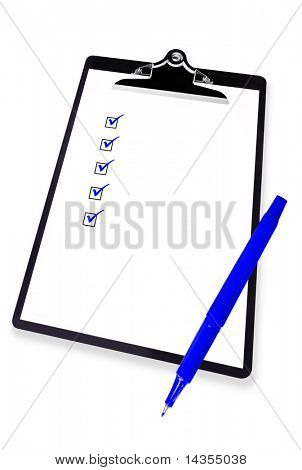 Checklist on clipboard, with blue pen.