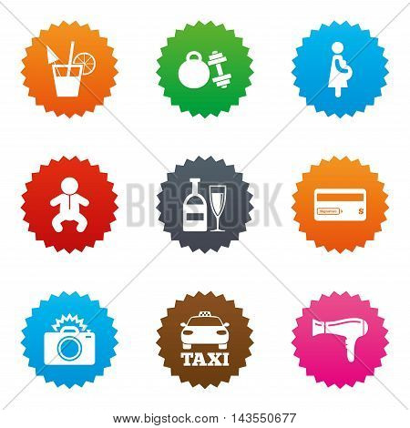 Hotel, apartment service icons. Fitness gym. Alcohol cocktail, taxi and hairdryer symbols. Stars label button with flat icons. Vector