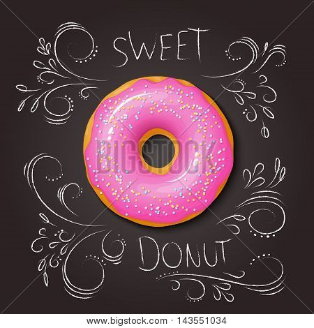 vector illustration of realistic isolated sweet donut on top view with hand drawn curly leaves and branches on chalkboard.