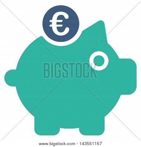 Euro Piggy Bank icon. Vector style is bicolor flat iconic symbol with rounded angles, cobalt and cyan colors, white background.