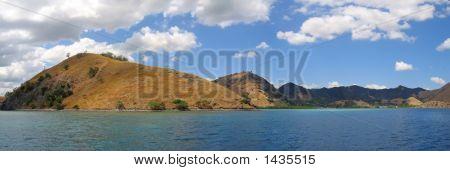 Yellow Mountains Falling On The Sea, Komodo Archipelago, Indonesia, Panorama
