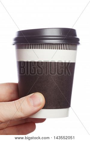 Close Up Coffee Cup In Hand On Isolate Background
