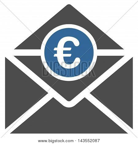 Euro Mail icon. Vector style is bicolor flat iconic symbol with rounded angles, cobalt and gray colors, white background.