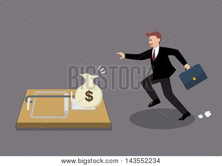 Businessman try to pick money from mousetrap. Business concept