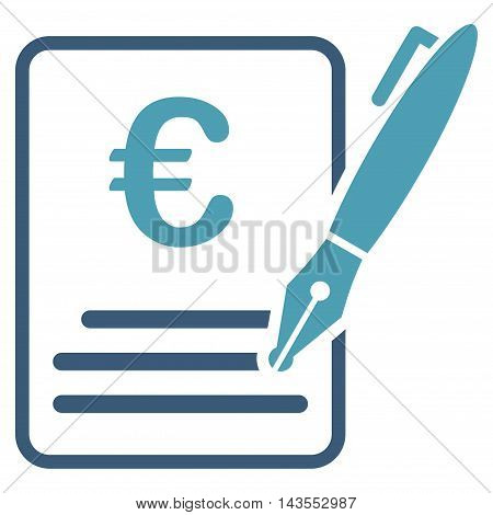 Euro Contract Signature icon. Vector style is bicolor flat iconic symbol with rounded angles, cyan and blue colors, white background.