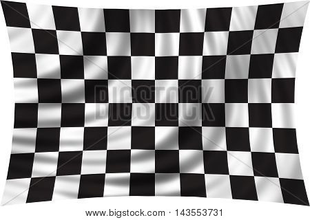 Checkered racing flag waving in the wind isolated on white background. Symbolic design of end of car race. Black and white background. 3d rendered illustration.