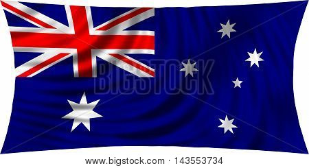 Flag of Australia waving in wind isolated on white background. Australian national flag. Patriotic symbolic design. 3d rendered illustration