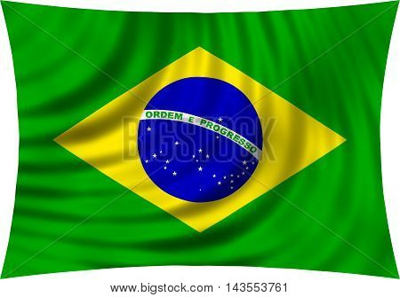 Flag of Brazil waving in wind isolated on white background. Brazilian national flag. Patriotic symbolic design. 3d rendered illustration