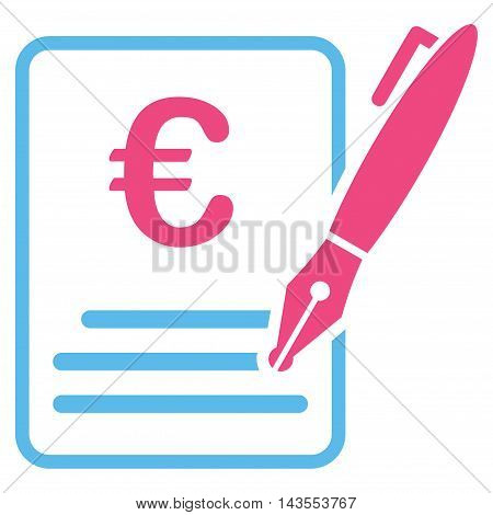 Euro Contract Signature icon. Vector style is bicolor flat iconic symbol with rounded angles, pink and blue colors, white background.