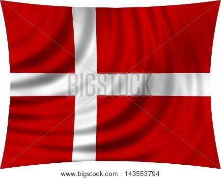 Flag of Denmark waving in wind isolated on white background. Danish national flag. Patriotic symbolic design. 3d rendered illustration