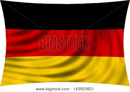 Flag of Germany waving in wind isolated on white background. German national flag. Patriotic symbolic design. 3d rendered illustration