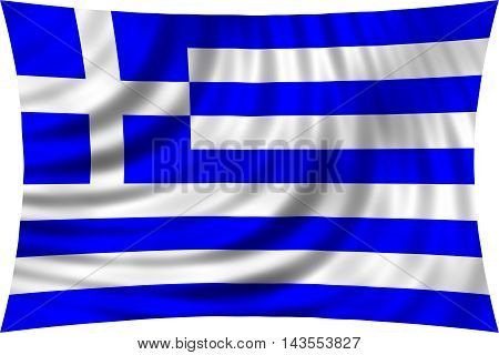 Flag of Greece waving in wind isolated on white background. Greek national flag. Patriotic symbolic design. 3d rendered illustration