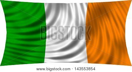 Flag of Ireland waving in wind isolated on white background. Irish national flag. Patriotic symbolic design. 3d rendered illustration