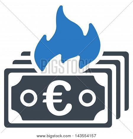 Burn Euro Banknotes icon. Vector style is bicolor flat iconic symbol with rounded angles, smooth blue colors, white background.