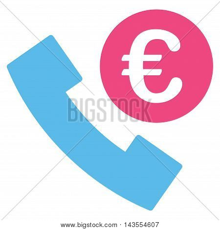 Euro Phone Order icon. Vector style is bicolor flat iconic symbol with rounded angles, pink and blue colors, white background.