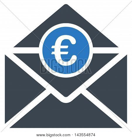 Euro Mail icon. Vector style is bicolor flat iconic symbol with rounded angles, smooth blue colors, white background.