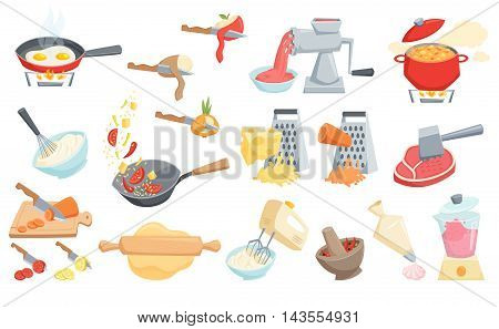 Cooking process set: cook soup, smoothie in blender, mixer whipped cream, grated cheese, wok pan fry, curry paste mortar, rolling pin dough, peel or cut vegetable, meat grinder and hammer, cook cake.