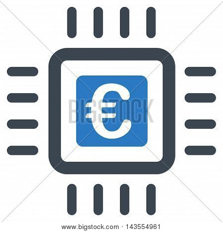 Euro Processor icon. Vector style is bicolor flat iconic symbol with rounded angles, smooth blue colors, white background.