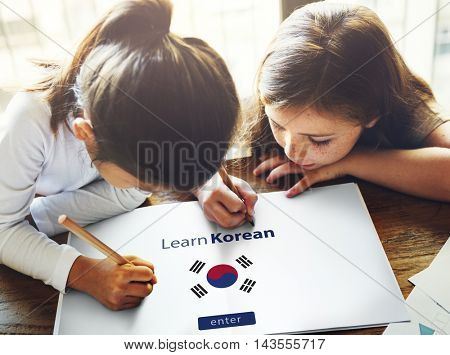 Learn Korean Language Online Education Concept