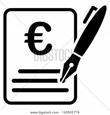 Euro Contract Signature icon. Vector style is flat iconic symbol with rounded angles, black color, white background.