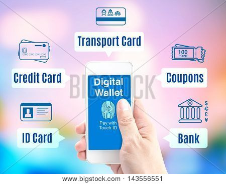 Hand Holding Mobile Phone With Digital Wallet With Finger Print Id And Icon On Blur Background, Digi