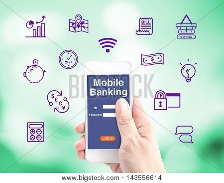 Mobile Banking, Hand Holding Mobile With Log In Interface And Icon ,internet Banking Concept